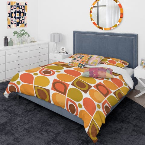 Designart 'Abstract Retro Geometric Pattern VI' Mid-Century Modern Duvet Cover Comforter Set