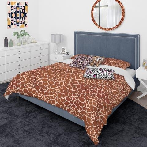 Designart 'Leopard Fur Safari I' Mid-Century Modern Duvet Cover Comforter Set
