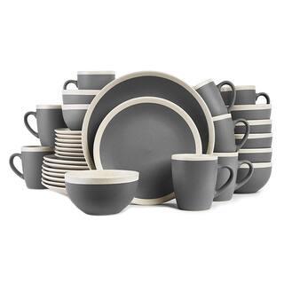 Stone Lain 32-Piece Stoneware Round Dinnerware Set, Service for 8 in Dark Gray and Cream,