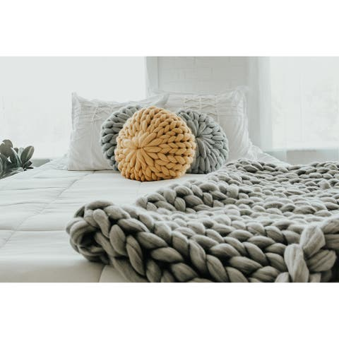 Lane and Mae Chunky Knit 100% Merino Pouf