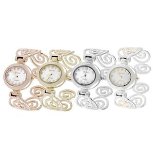 Geneva Platinum Polished Swirl Cuff Watch|https://ak1.ostkcdn.com/images/products/2925811/P11092889.jpg?impolicy=medium