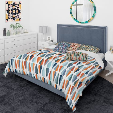 Designart 'Retro Abstract Drops V' Mid-Century Modern Duvet Cover Comforter Set