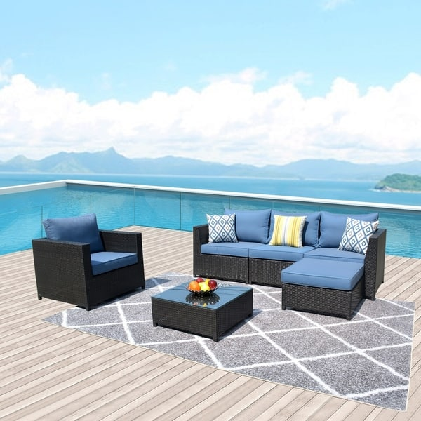 Shop Ovios Patio Furniture Set Big Size Outdoor Furniture 6 Pcs Set Pe Rattan Wicker Sectional With 2 Pillows And 1 Furniture Cover Overstock 29258342