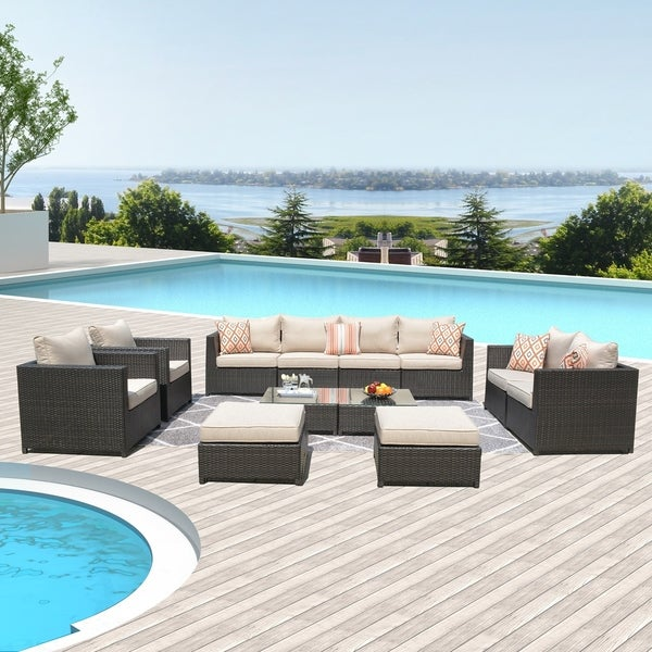 Ovios Patio Furniture Set Big Size Outdoor Furniture 12 Pcs Set PE Rattan Wicker sectional with 4 Pillows and 2 Furniture Covers. Opens flyout.