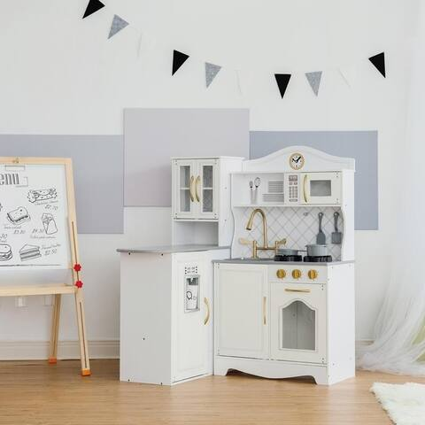Teamson Kids - Little Chef Upper East Retro Play Kitchen- White/ Gold