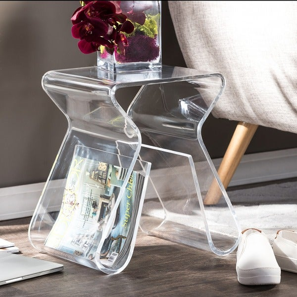 Alec acrylic stool end table free shipping today for Overstock acrylic coffee table