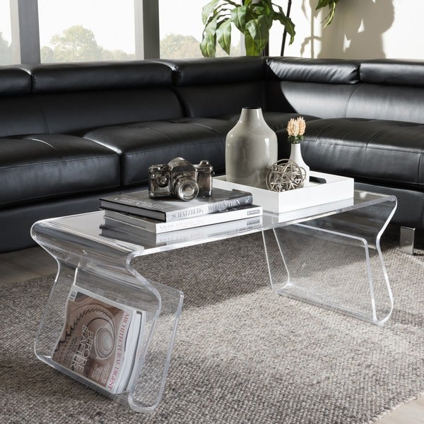 Adair acrylic coffee table free shipping today for Overstock acrylic coffee table