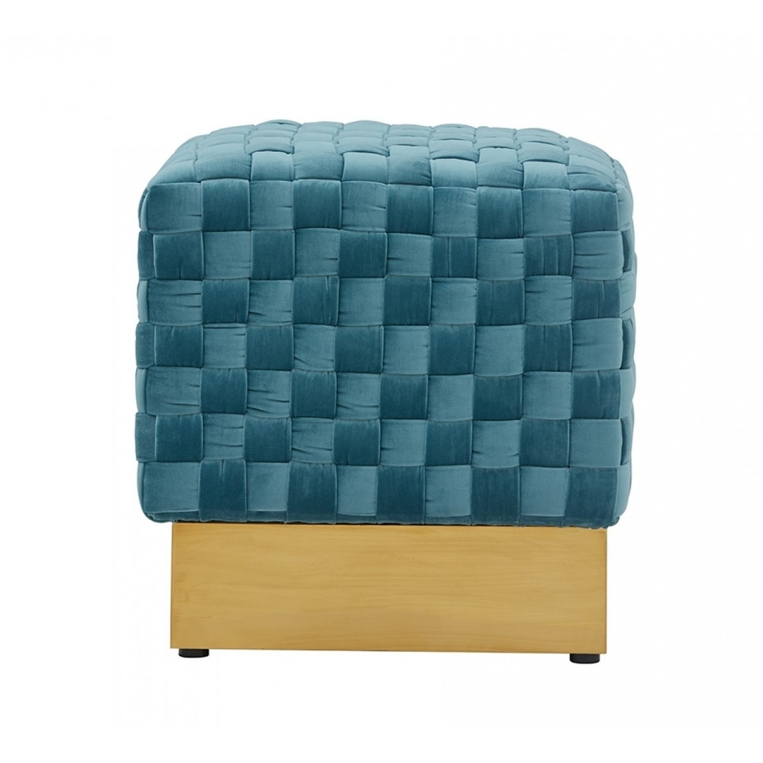Divani Casa Atwood Modern Blue Velvet Ottoman On Sale Overstock 29295579