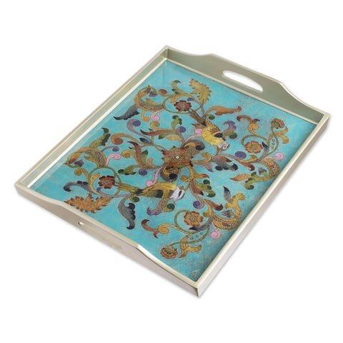 Handmade Mystic Flora Reverse-Painted Glass Tray (Peru)