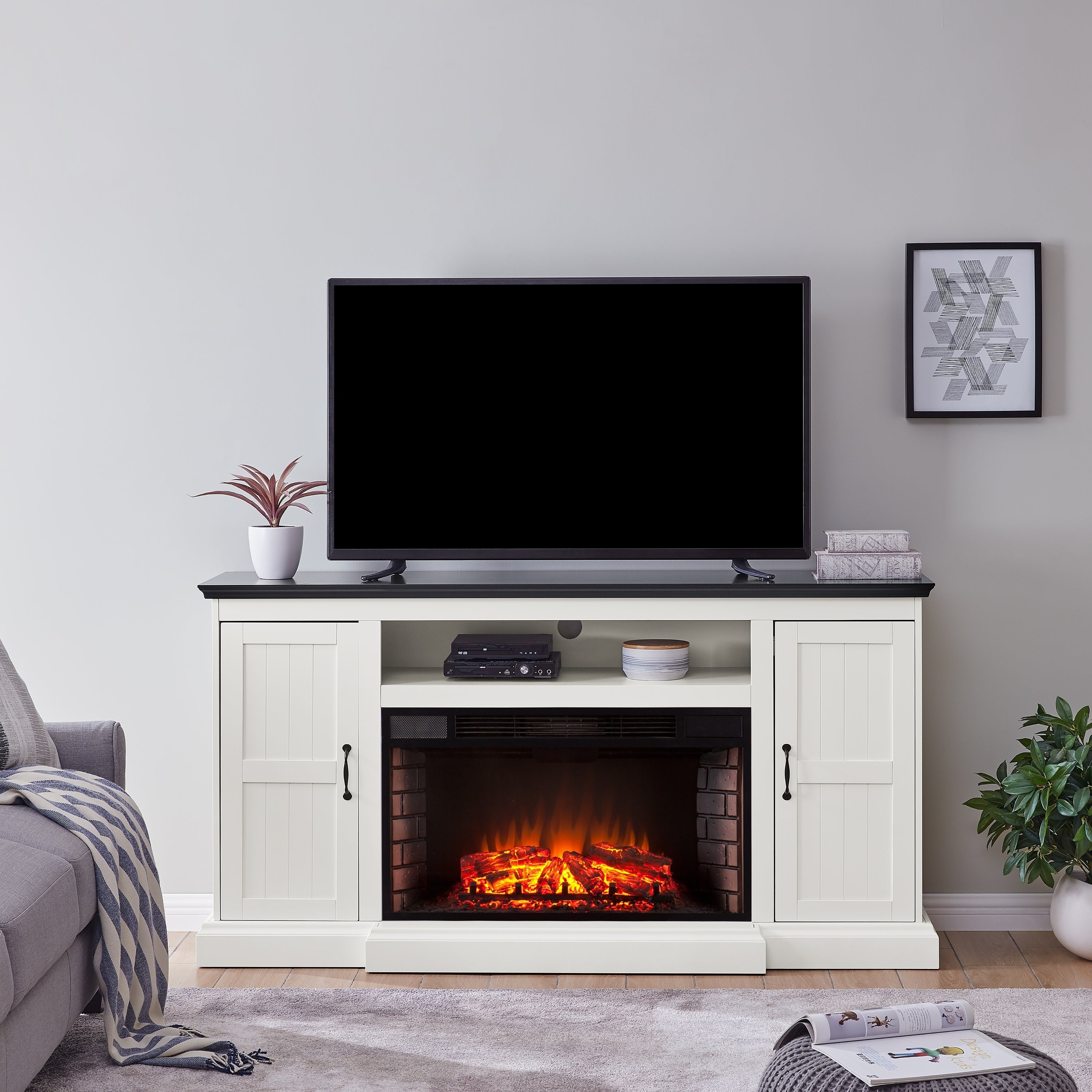 Shop Belle Modern Farmhouse White Electric Fireplace Media Console