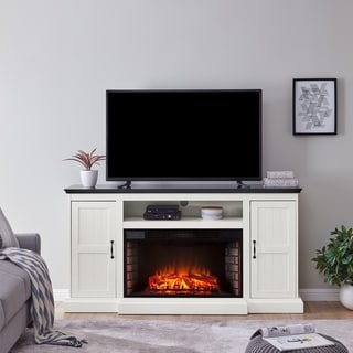 Belle Modern Farmhouse White Electric Fireplace Media Console
