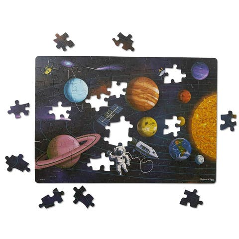 Melissa & Doug Natural Play Cardboard Jigsaw Floor Puzzle Outer Space