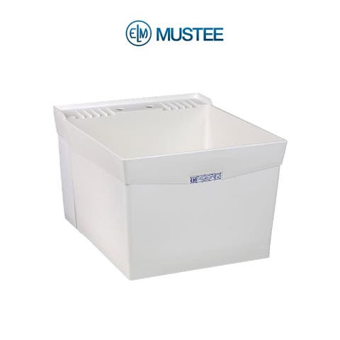 Mustee 20-in x 24-in 1-Basin White Wall Mount Composite Tub Utility Sink with Drain
