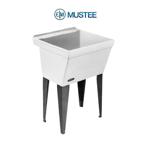 Mustee 23-in x 23.5-in 1-Basin White Freestanding Composite Tub Utility Sink with Drain