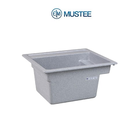Mustee 25-in x 22-in 1-Basin Twilight Self-Rimming Composite Laundry Utility Sink with Drain
