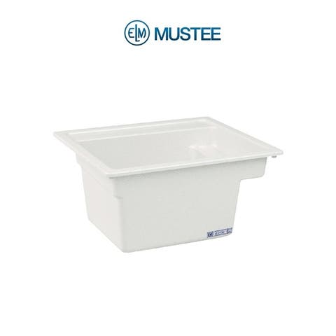 Mustee 25-in x 22-in 1-Basin White Self-Rimming Composite Laundry Utility Sink with Drain