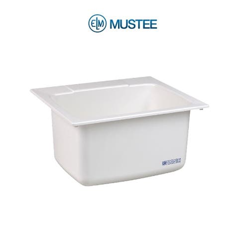 Mustee 25-in x 22-in 1-Basin White Self-Rimming Composite Laundry Utility Sink