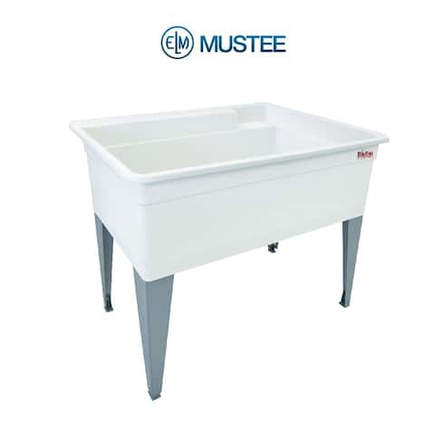 Mustee 40-in x 24-in White Freestanding Polypropylene Utility Tub with Drain