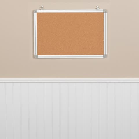 Wall Mounted Natural Cork Board - Aluminum Frame, Notes/Memos