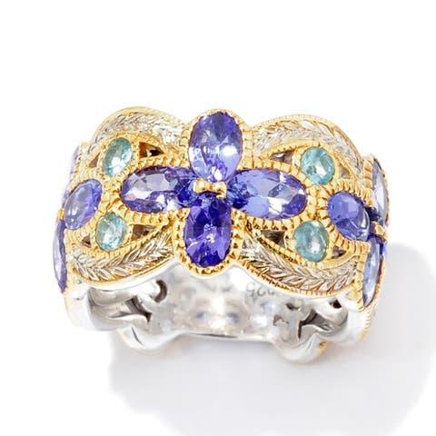 Michael Valitutti Palladium Silver Hand Engraved Tanzanite & Apatite Flower Wide Band Ring