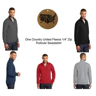 """One Country United Fan Favorite Fleece 1/4"""" Zip Pullover Sweatshirt"""