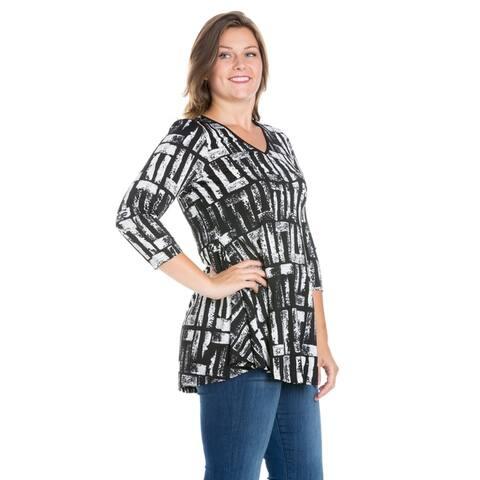 24seven Comfort Apparel Three Quarter Sleeve Plus Size Tunic Top