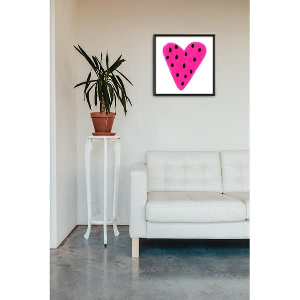 Star Home Décor Heart Dots Hot Pink By Molly Rosner Framed Canvas Print Overstock 29296887
