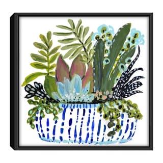 Porch & Den Karen Fields 'Succulents' Framed Canvas Print Art