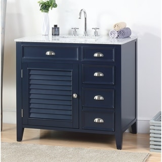 "36"" Benton Collection Zapata Navy Blue Granite Top Bathroom Vanity"