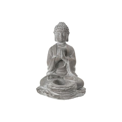 UTC41526: Cement Meditating Buddha Figurine in Anjali Mudra Position with Front Candle Holder on Flat Base Natural Finish Gray