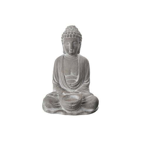 UTC41527: Cement Sitting Buddha Figurine in Dhyana Mudra Meditating Position with Basin on Flat Base Natural Finish Gray