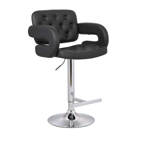 Button-tufted Leather Upholstered Modern Adjustable Bar Stool Set of 3