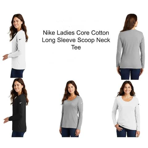 Nike Ladies Core Cotton Long Sleeve Scoop Neck Tee