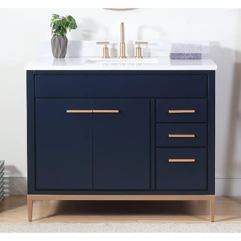"42"" Tennant Brand Beatrice Navy Blue Contemporary Bathroom Vanity"