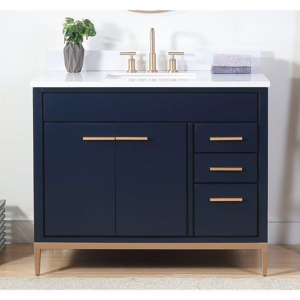 """42"""" Tennant Brand Beatrice Navy Blue Contemporary Bathroom Vanity. Opens flyout."""