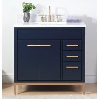 "36"" Tennant Brand Beatrice Modern Navy Blue Bathroom Vanity"