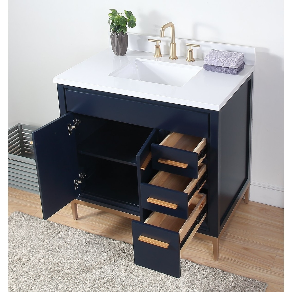 36 Tennant Brand Beatrice Modern Navy Blue Bathroom Vanity Overstock 29297206