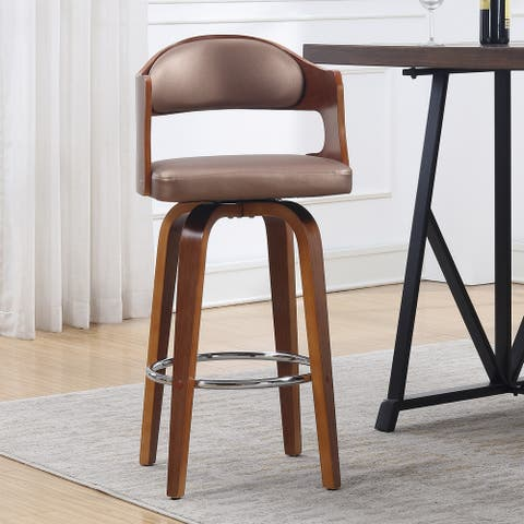 Wood and Faux Leather Mid-Century 27-Inch Swivel Counter Stool Set of 3