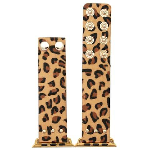 Olivia Pratt Faux Cheetah Print Fabric Snap Button Band for Apple Watch