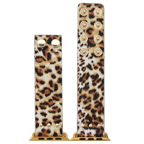 Olivia Pratt Faux Leather Animal Snap Button Band for Apple Watch