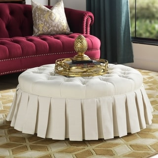 Gracewood Hollow Baruti Tufted Cocktail Ottoman with Pleated Skirt
