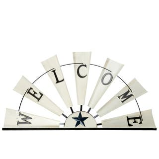 """UTC16703: Metal Wall Decor with """"Welcome"""" Writing on Half Windmill Design Distressed Finish Off White"""