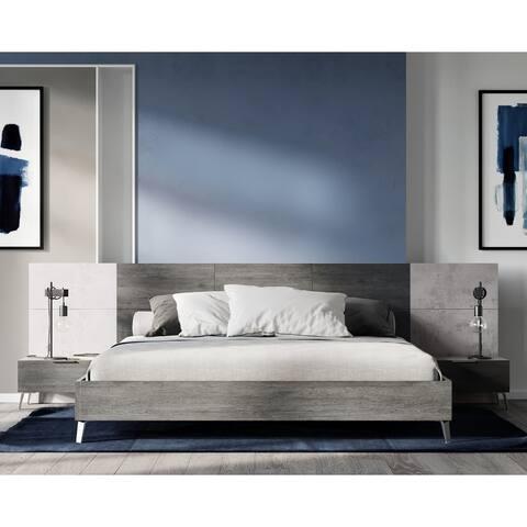 Carson Carrington Uddnas Italian Modern Faux Concrete & Grey Bed