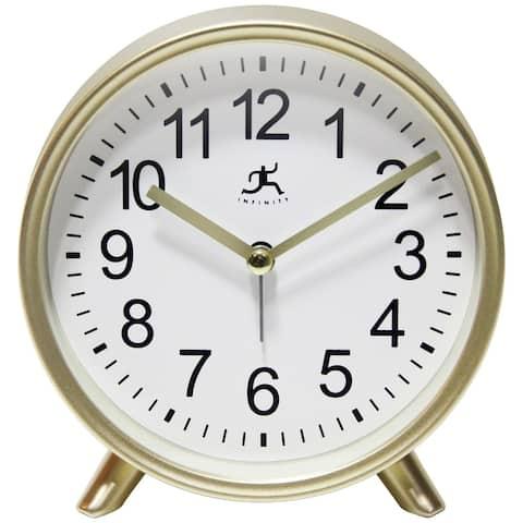 Matte Gold 6 inch Decorative Tabletop Alarm Clock Analog