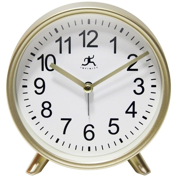 Matte Gold 6 inch Decorative Tabletop Alarm Clock Analog. Opens flyout.