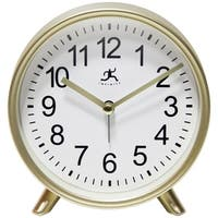 Matte Gold 6 inch Decorative Tabletop Alarm Clock Analog