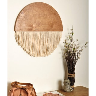 The Curated Nomad Wooden Round Fiber Art Wall Hanging