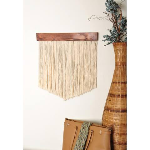 """20"""" Wooden Chevron Fiber Art Wall Hanging - 20 x 22 x 2"""