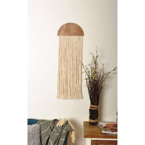 """10"""" Wooden Round Fiber Art Wall Hanging - 10 x 29 x 1"""