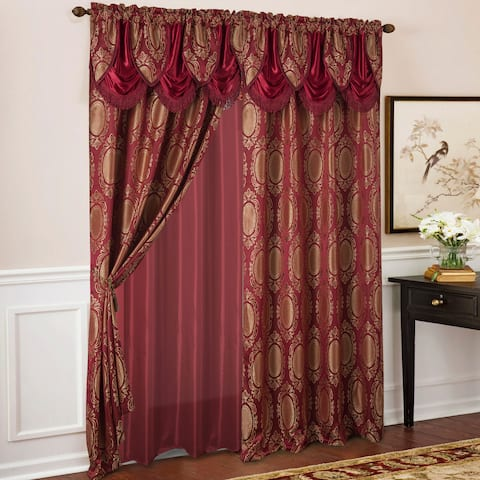 Gracewood Hollow Mabanckou Textured Jacquard Single Rod Pocket Curtain Panel w/ Attached Valance (54 x 84) - 54 x 84 in.